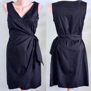 Loft Black Cotton Wrap Dress